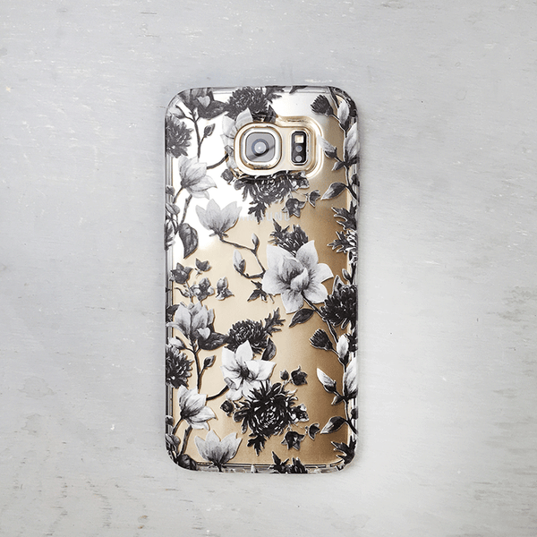 Black and White Magnolia Flowers Clear Galaxy Phone Case