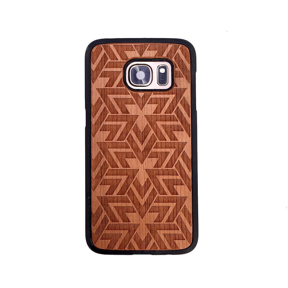 Geometric Triangles Pattern Wood Phone Case - Geometric Design Wood iPhone and Galaxy Case