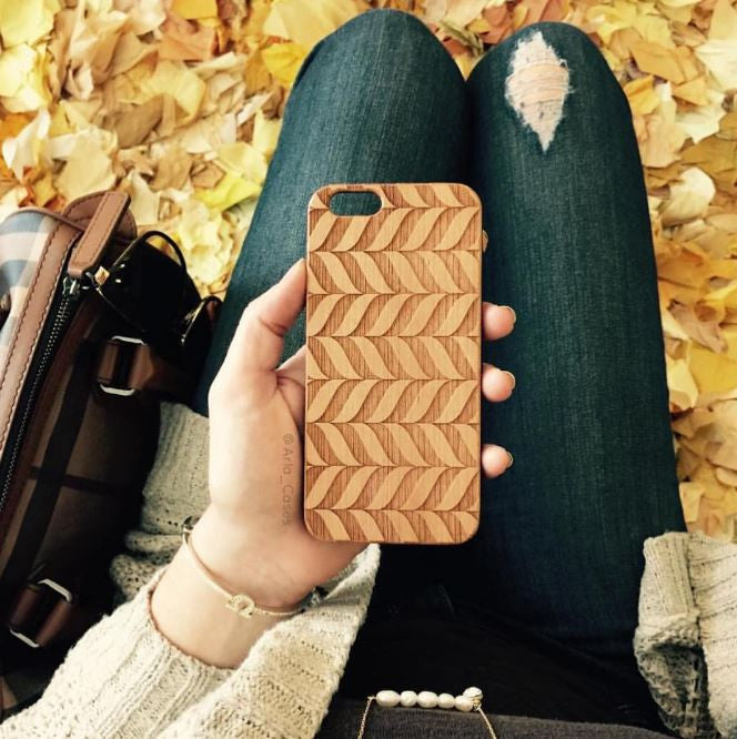 Geometric Chevron Wood Phone Case - Pattern iPhone and Galaxy Case