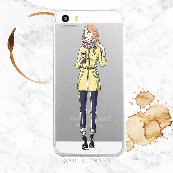 Coffee Girl Clear iPhone and Galaxy Phone Case