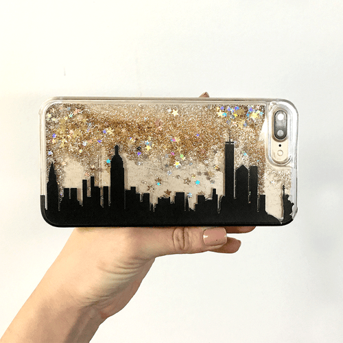Custom City Skyline Gold Glitter Phone Case