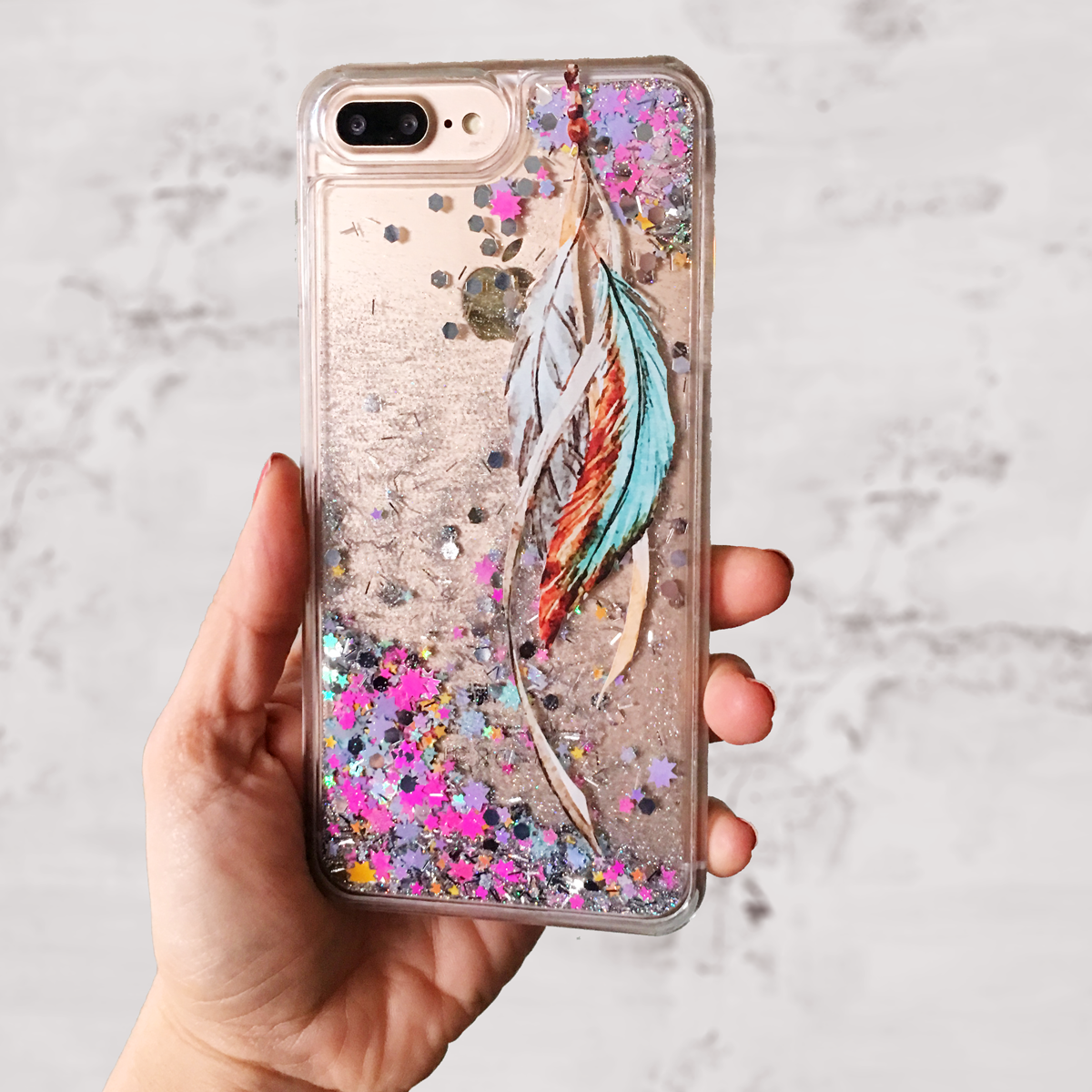 Tribal Feather Glitter iPhone Case