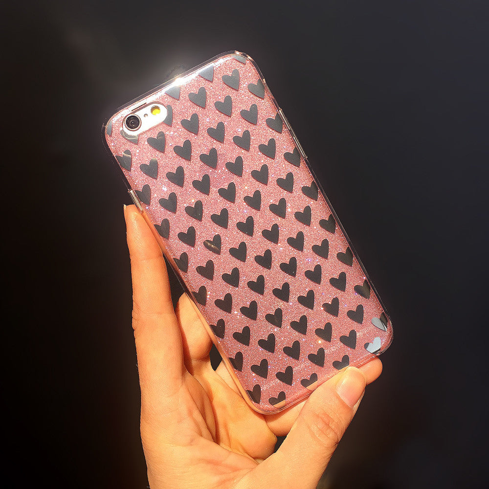 iPhone 6 and iPhone 6 Plus Pink Glitter Metallic Hearts Case
