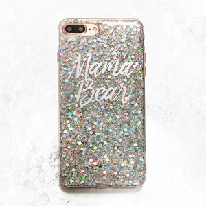 Silver Glitter Mama Bear Phone Case