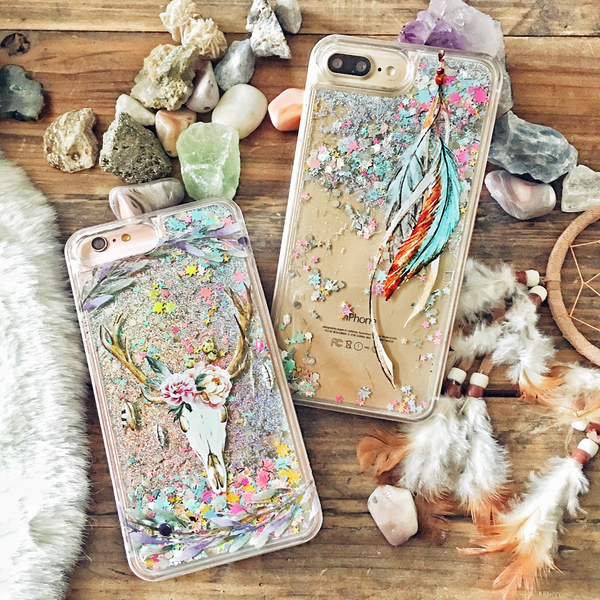 Tribal Feathers Rainbow Glitter Phone Case