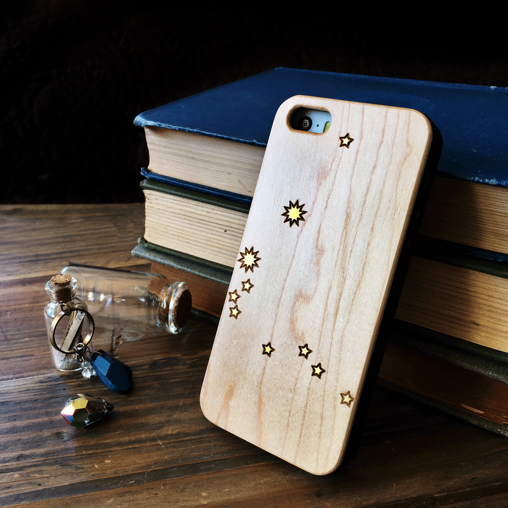 Gold Astrology Constellations - Wood Phone Case