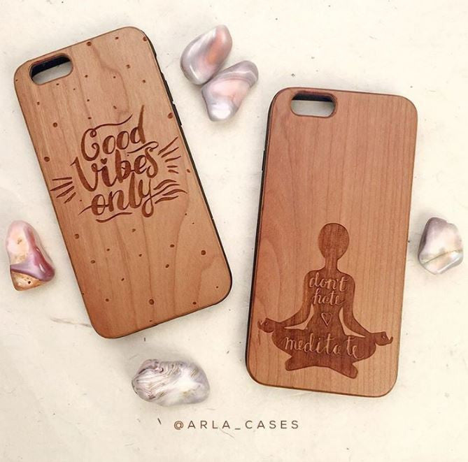 Good Vibes Only Engraved on Wood Phone Cases