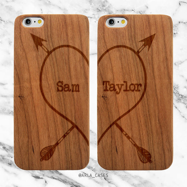 Custom Heart Names Phone Case Set