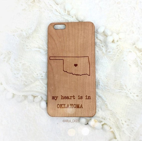 Custom State Wood Phone Case