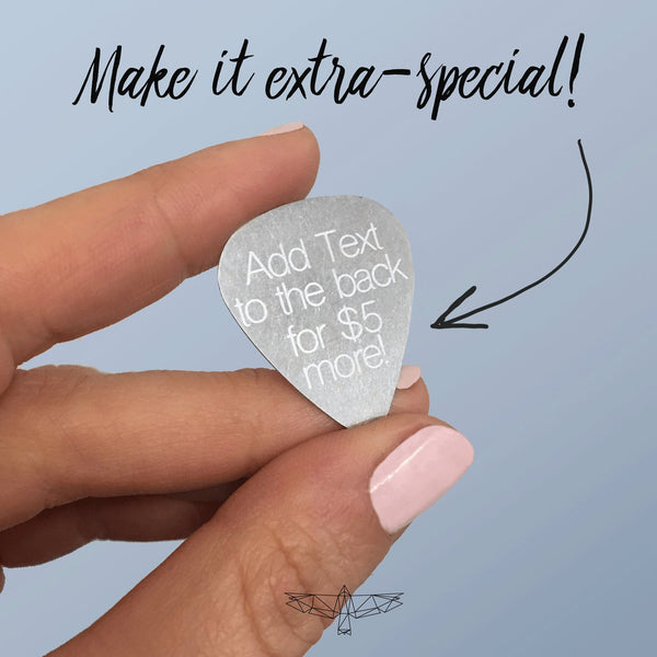 Custom Steel Guitar Pick with Names for Mom