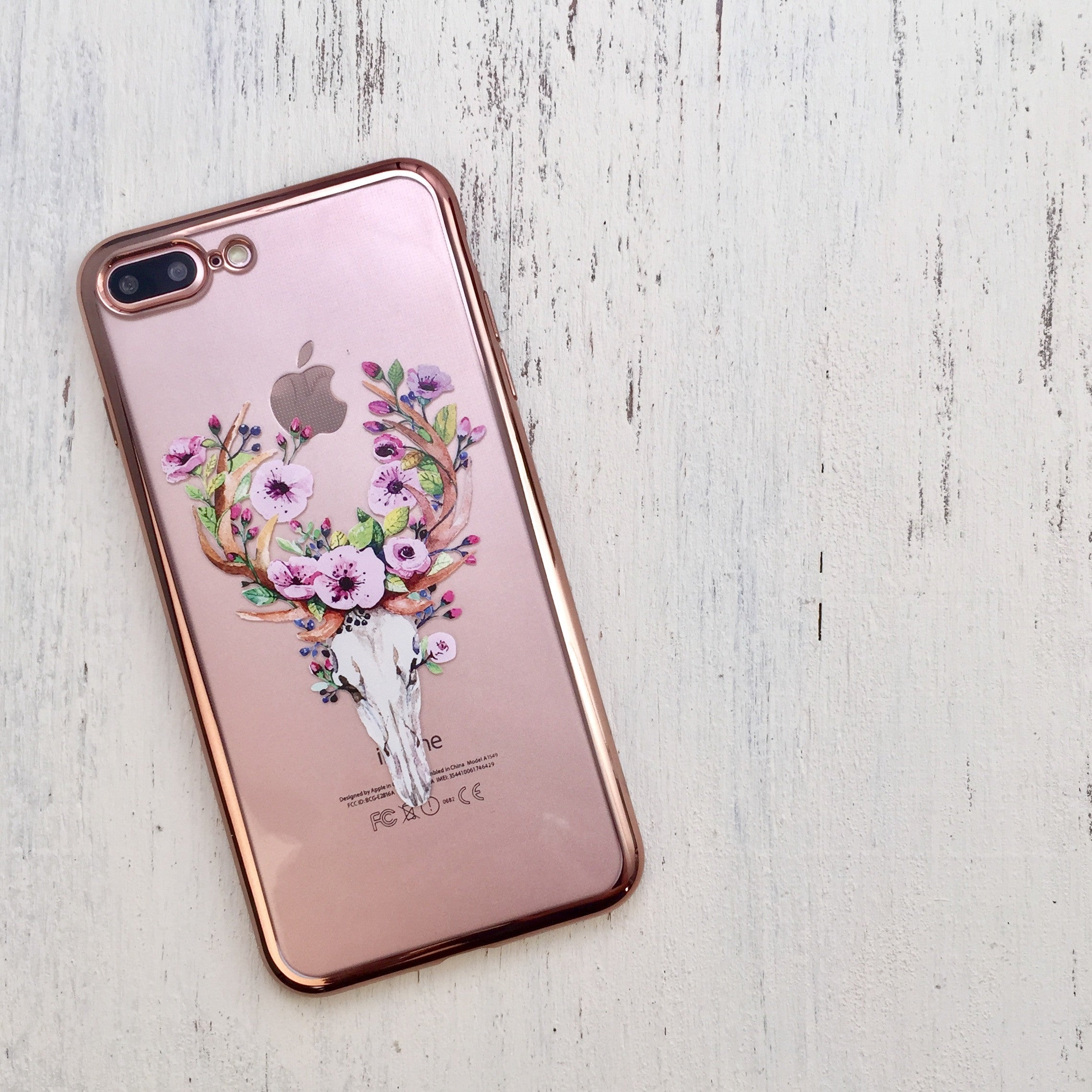 Deer Skull Rose Gold Phone Case