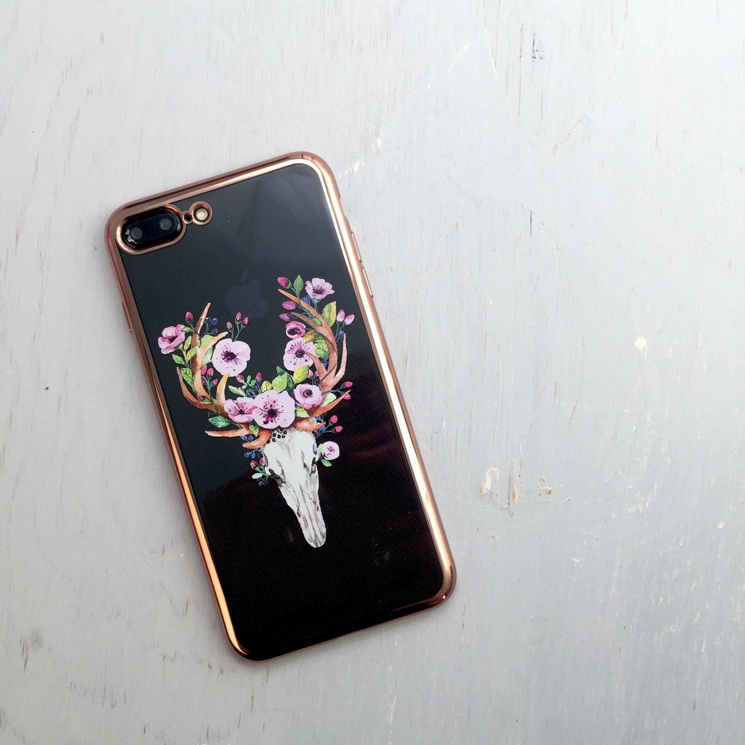 Floral Deer Skull - Metallic Phone Case