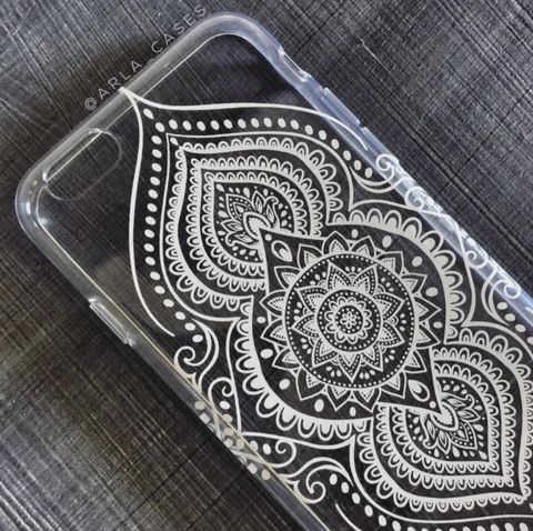 White Henna Clear iPhone Case