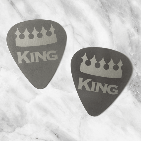 King and King - Couples Steel Guitar Pick - Set of Two