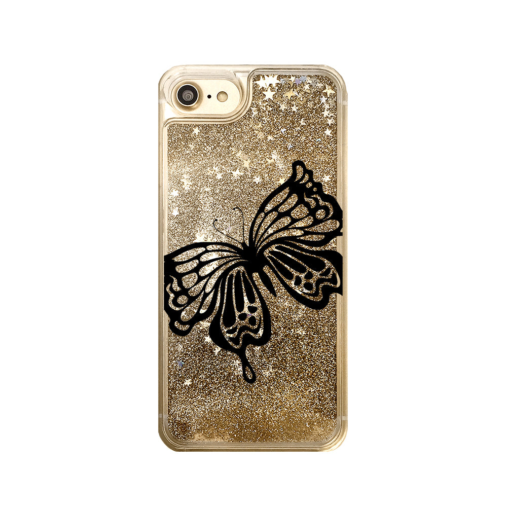 Butterfly Liquid Glitter iPhone Case