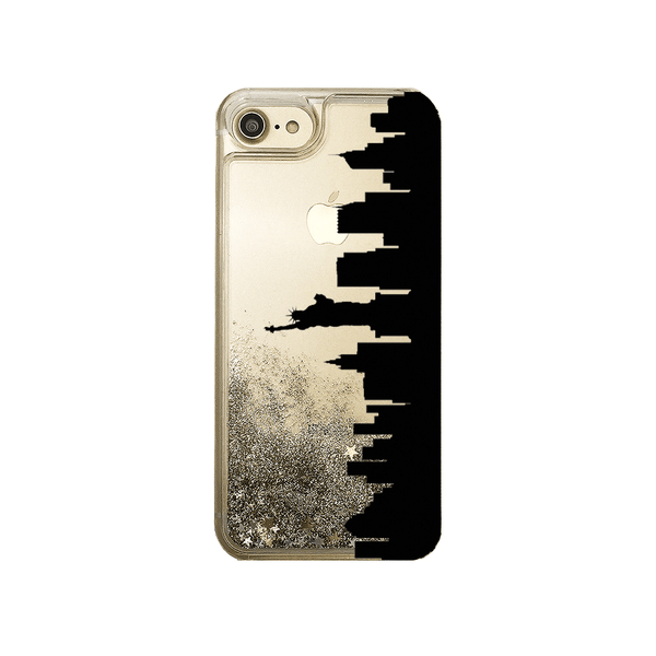 Custom City Skyline Gold Liquid Glitter Phone Case