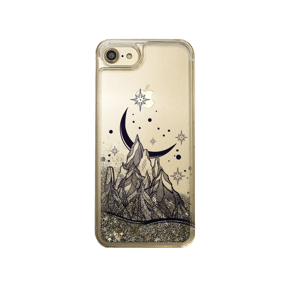 Mountain Sky Gold Liquid Glitter Phone Case