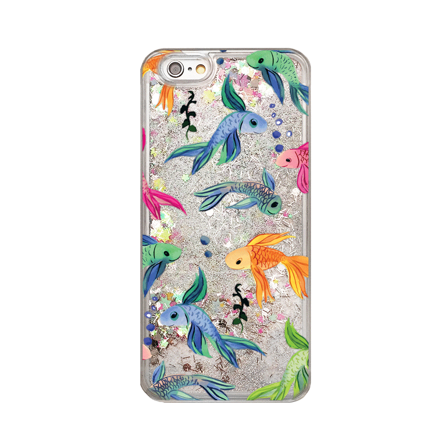 Rainbow Fish Silver Glitter Phone Case