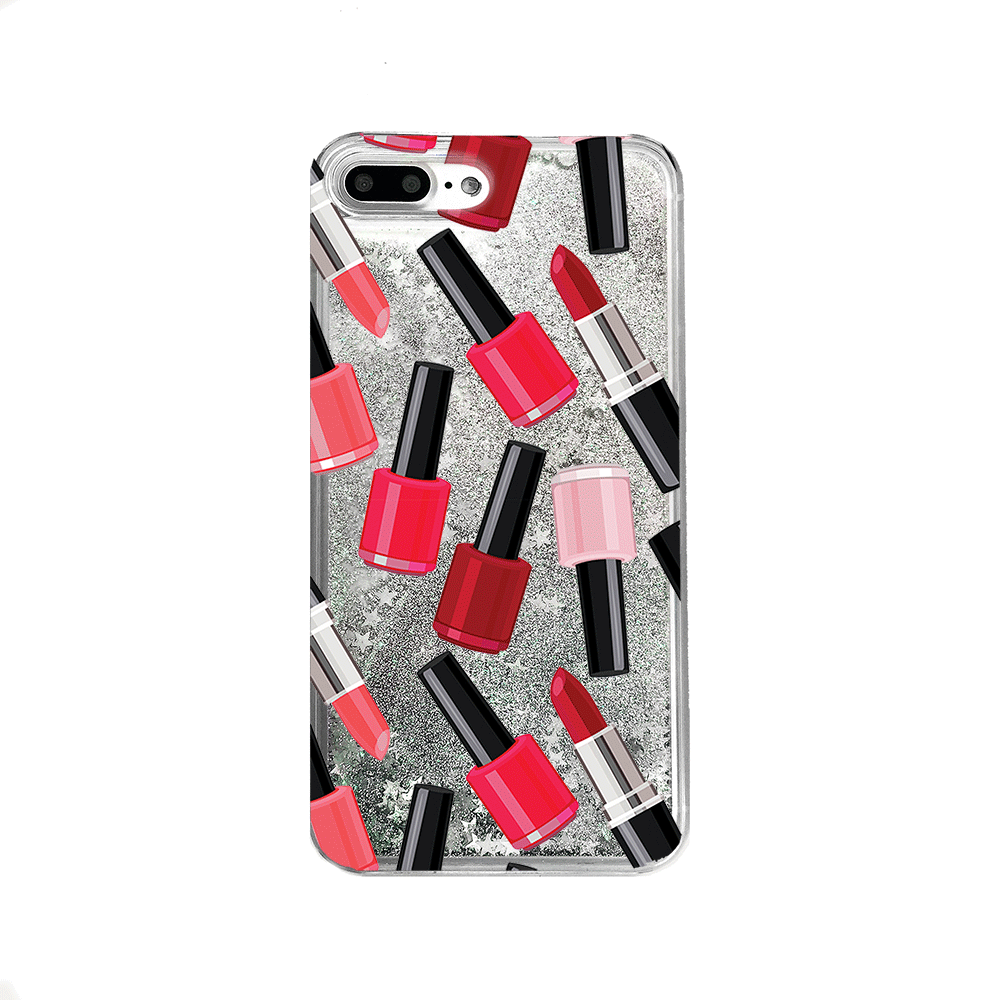Red Nail Polish & Lipstick Silver Glitter Phone Case