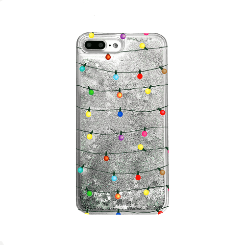 Christmas Lights Silver Liquid Glitter Phone Case