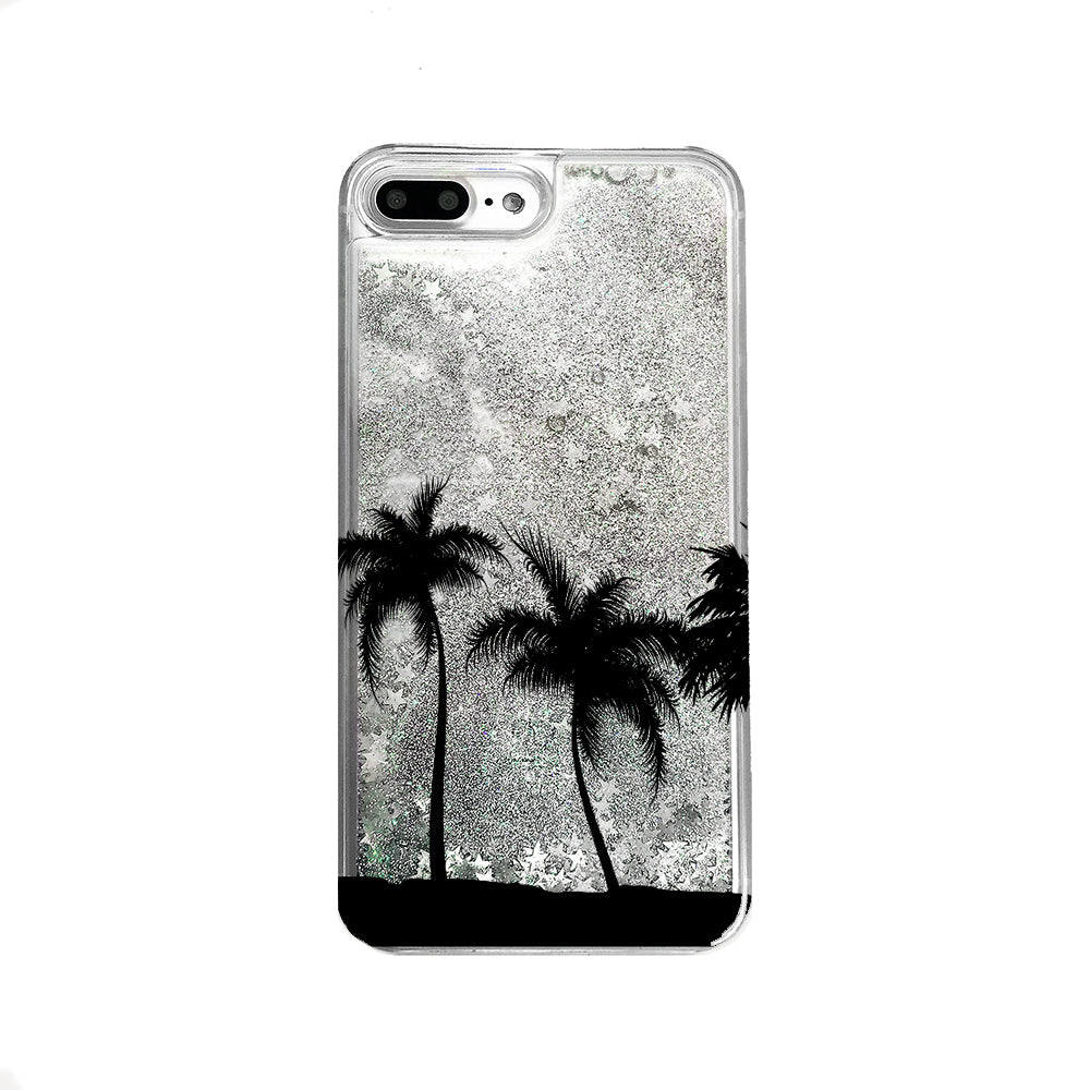 Palm Trees Liquid Glitter iPhone Case