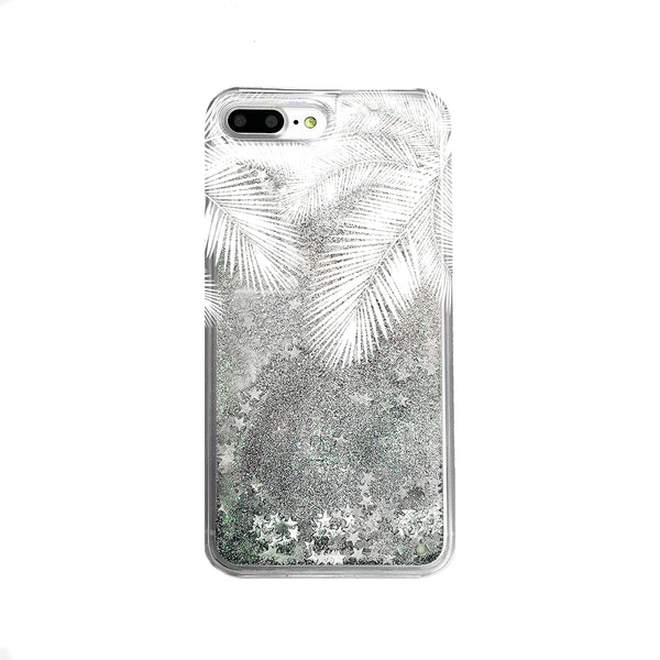 Palm Tree Leaves Liquid Glitter iPhone Case