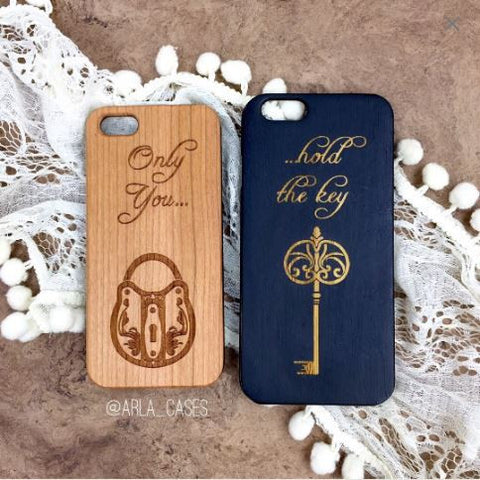 Lock and Key Wood Phone Case Set