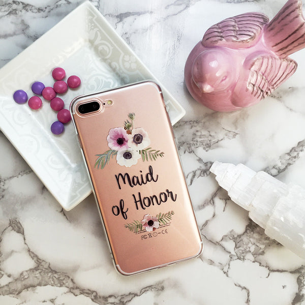Maid of Honor Floral Wedding Phone Case - Clear Printed TPU