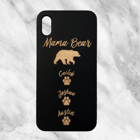 Custom Mama Bear Wood Phone Case