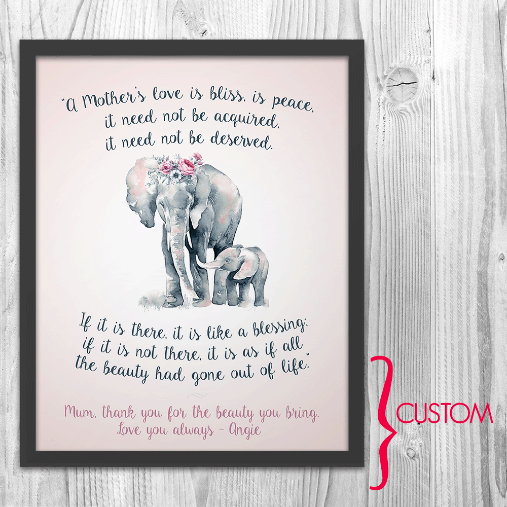 Elephant Mom and Baby Digital Download Art Print