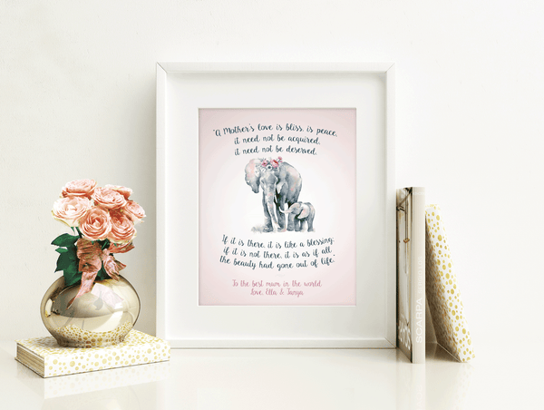 Elephant Mom and Baby - Personalized Digital Download Art