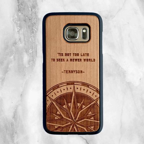 Tennyson Travel Quote Wood Phone Case