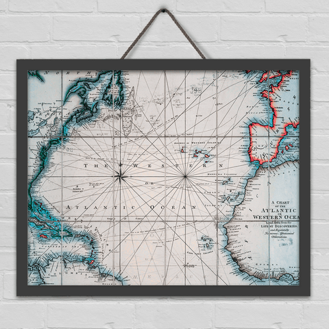 Vintage Atlantic Ocean Map - Art Print
