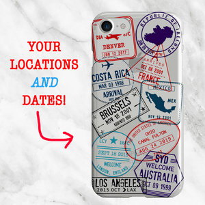 Stamp Me Wanderful Custom Passport Stamp Phone Case by Arla Laserworks