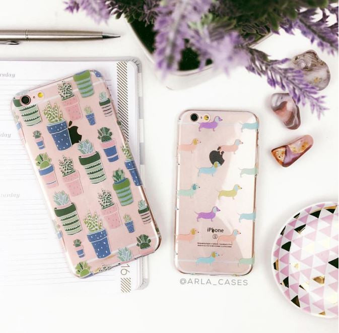 Pastel Dachshund Dogs - Clear Printed TPU Phone Case Cover