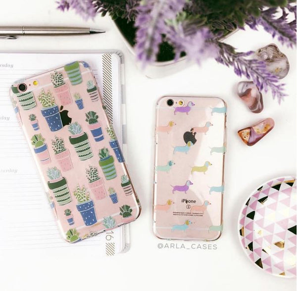 Pastel Dachshund Dogs - Clear TPU Case Cover