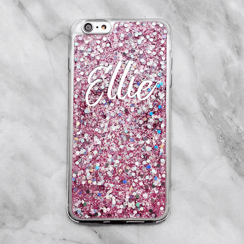 Pink Glitter Custom Name Phone Case