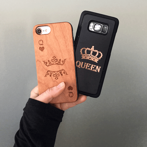King and Queen of Hearts Wood Phone Case Set
