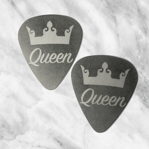 Queen and Queen - Couples Steel Guitar Pick - Set of Two