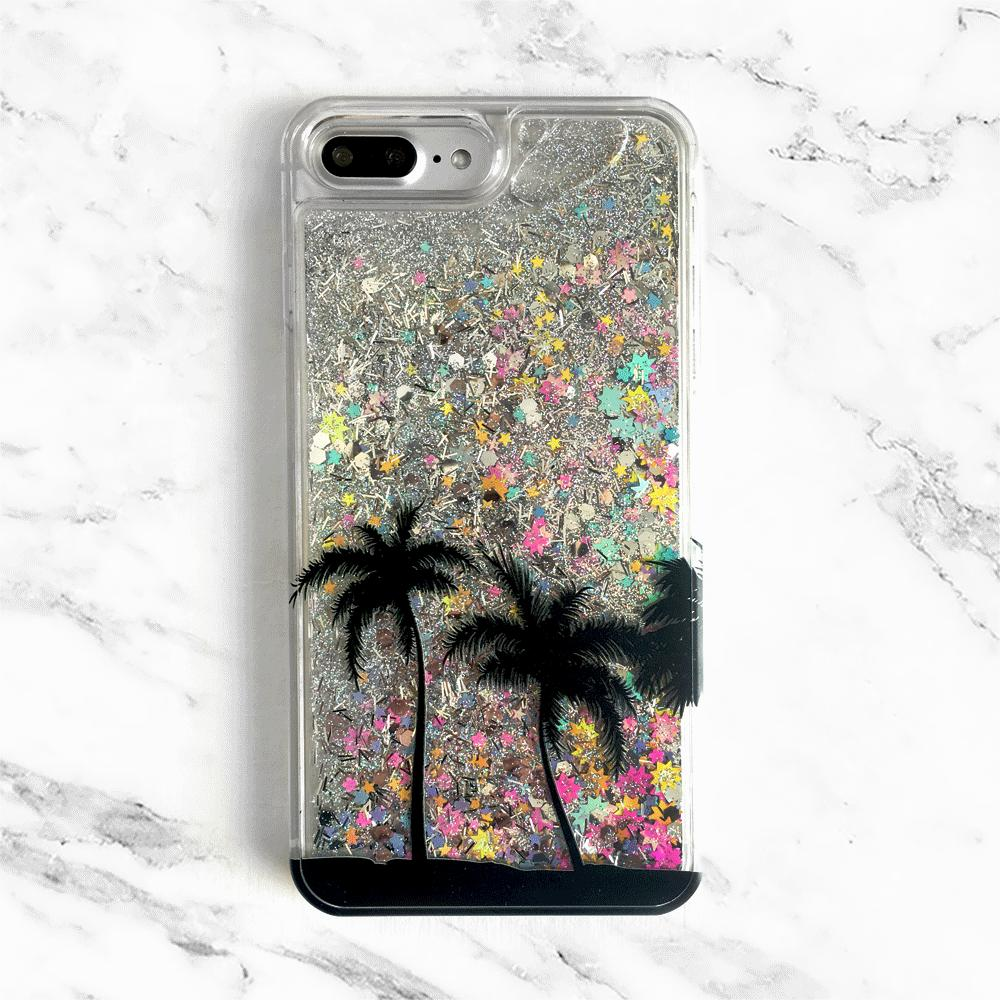 Palm Trees Rainbow Liquid Glitter Phone Case