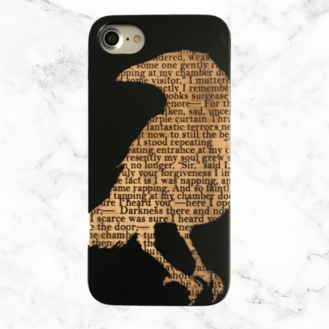 Edgar allan poe the raven engraved poem wood phone case