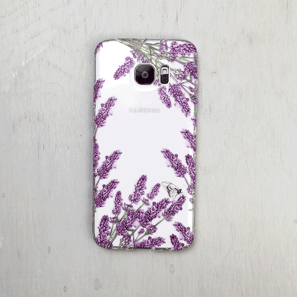 Lavender Flowers Clear iPhone and Galaxy Phone Case