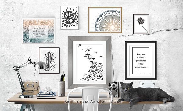 Be Pawsitive - Minimalist Cat Art Print