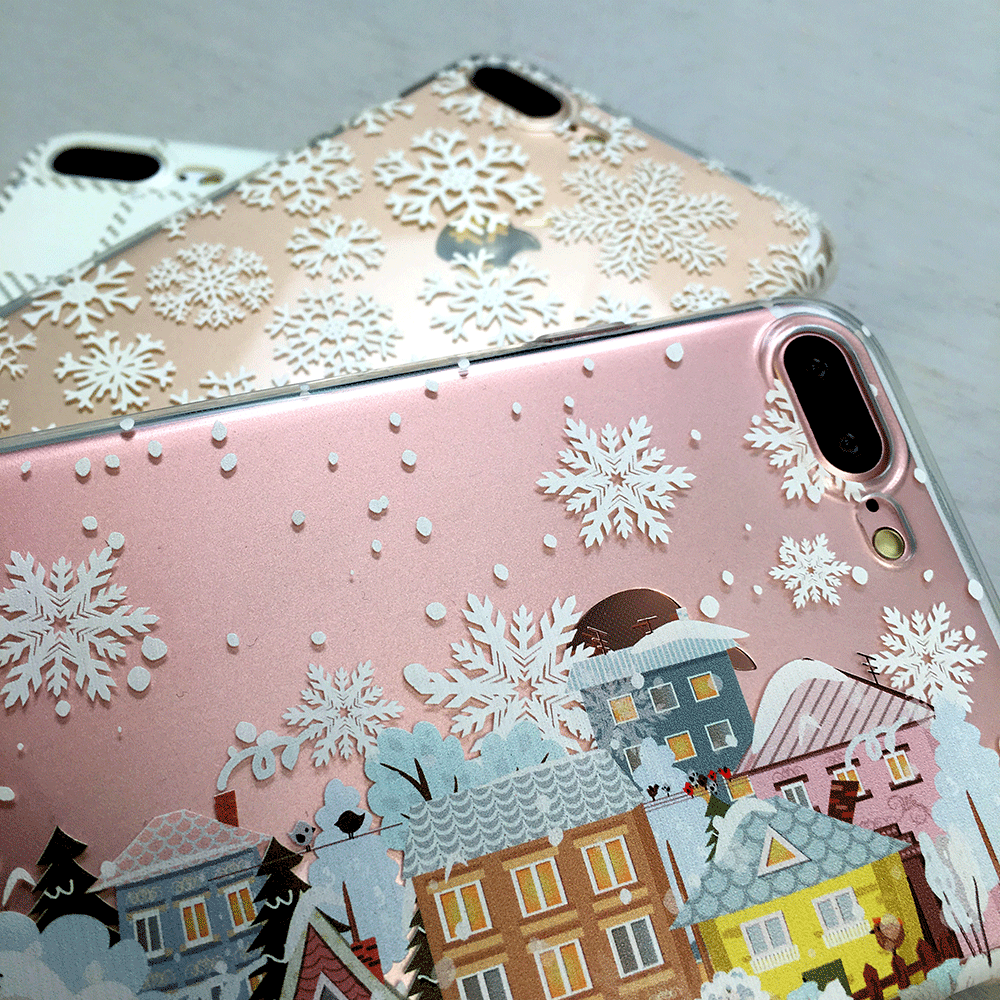 Christmas Village Phone Case - Clear TPU with Print