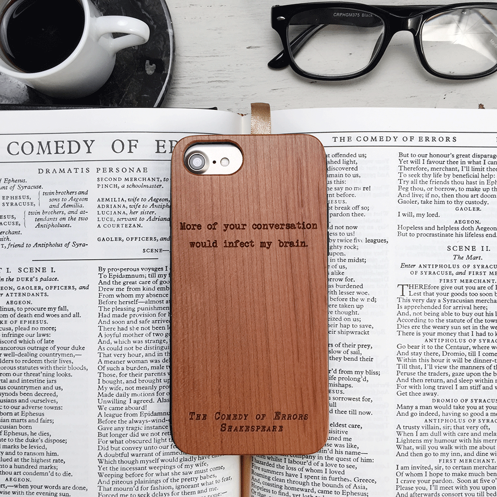 Shakespeare the Comedy of Errors Quote Wood iPhone Case