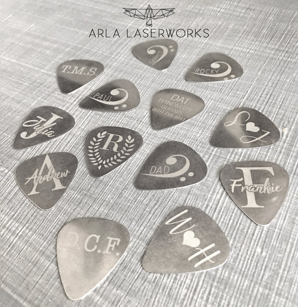 Custom Steel Guitar Pick with Star Initials