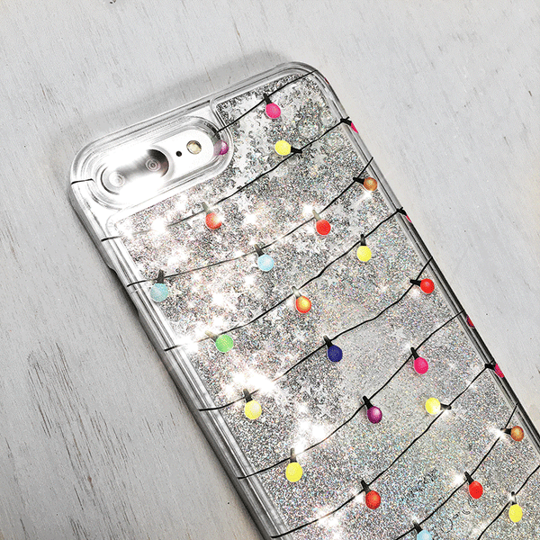 Christmas Lights Silver Glitter iPhone Case