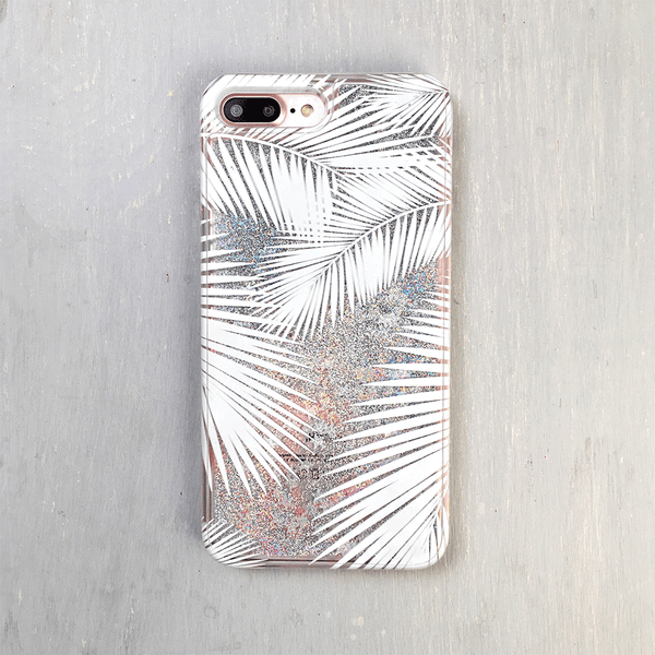 Palm Tree Silver Glitter iPhone Case