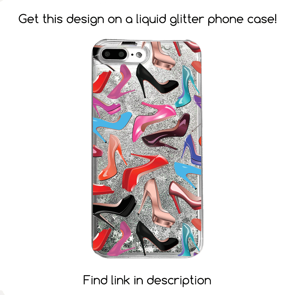 High Heels Gold Glitter Phone Case