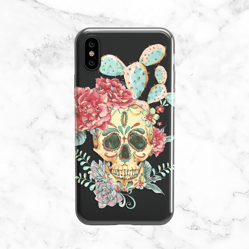 Halloween Succulent Sugar Skull Clear TPU Phone Case